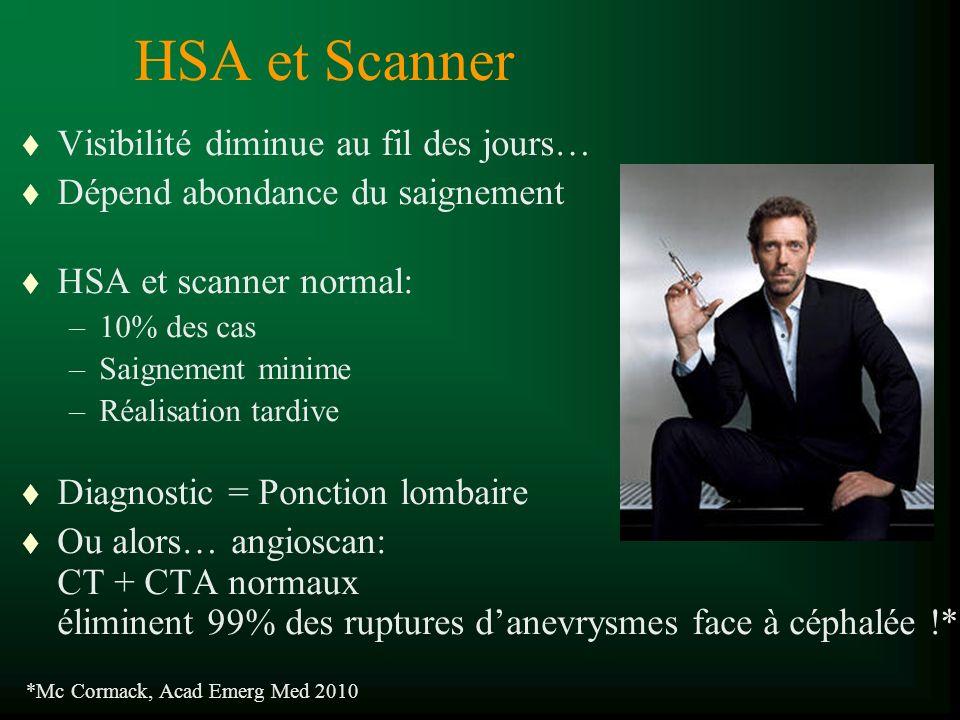 HSA et Scanner t Visibilité diminue au fil des jours… t Dépend abondance du saignement t HSA et scanner normal: –10% des cas –Saignement minime –Réali