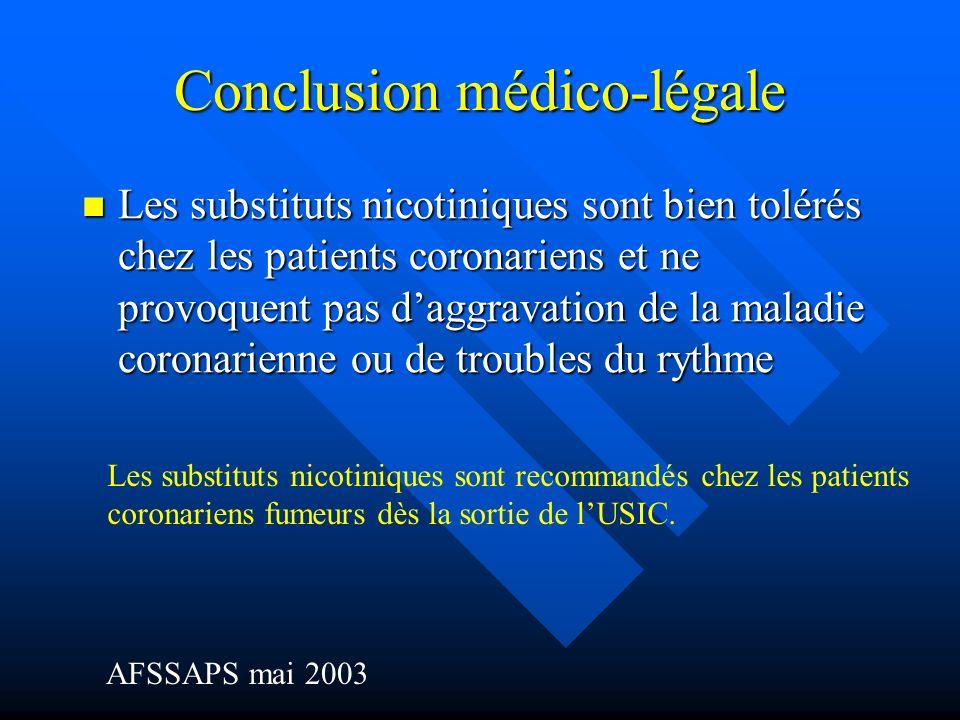 Conclusion médico-légale Les substituts nicotiniques sont bien tolérés chez les patients coronariens et ne provoquent pas daggravation de la maladie c