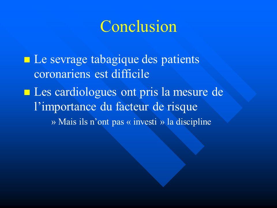 Conclusion Le sevrage tabagique des patients coronariens est difficile Les cardiologues ont pris la mesure de limportance du facteur de risque » »Mais