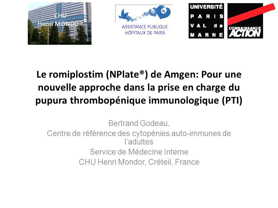 Maladie orpheline Thrombopénie isolée « périphérique » Complications hémorragiques (inconstantes) Evolution chronique chez ladulte Mortalité < 2 % Mortalité > 10 % chez les rares malades réfractaires à la splénectomie Le PTI