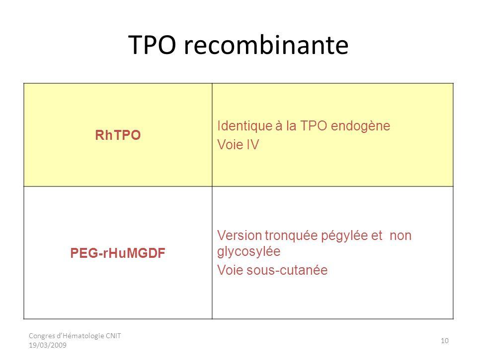 Congres dHématologie CNIT 19/03/2009 TPO recombinante RhTPO Identique à la TPO endogène Voie IV PEG-rHuMGDF Version tronquée pégylée et non glycosylée