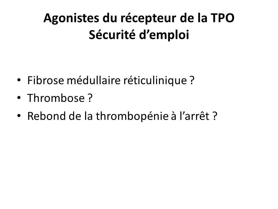 Agonistes du récepteur de la TPO Sécurité demploi Fibrose médullaire réticulinique ? Thrombose ? Rebond de la thrombopénie à larrêt ?