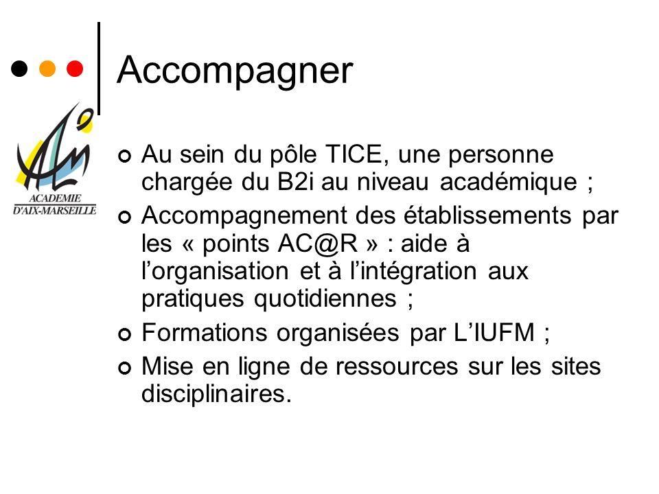 Accompagner Au sein du pôle TICE, une personne chargée du B2i au niveau académique ; Accompagnement des établissements par les « points AC@R » : aide
