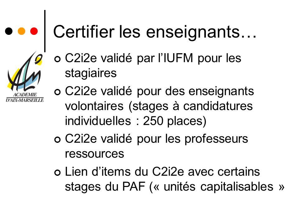 Certifier les enseignants… C2i2e validé par lIUFM pour les stagiaires C2i2e validé pour des enseignants volontaires (stages à candidatures individuell