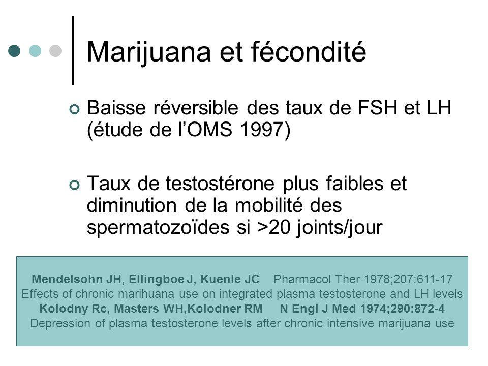 Marijuana et fécondité Baisse réversible des taux de FSH et LH (étude de lOMS 1997) Taux de testostérone plus faibles et diminution de la mobilité des