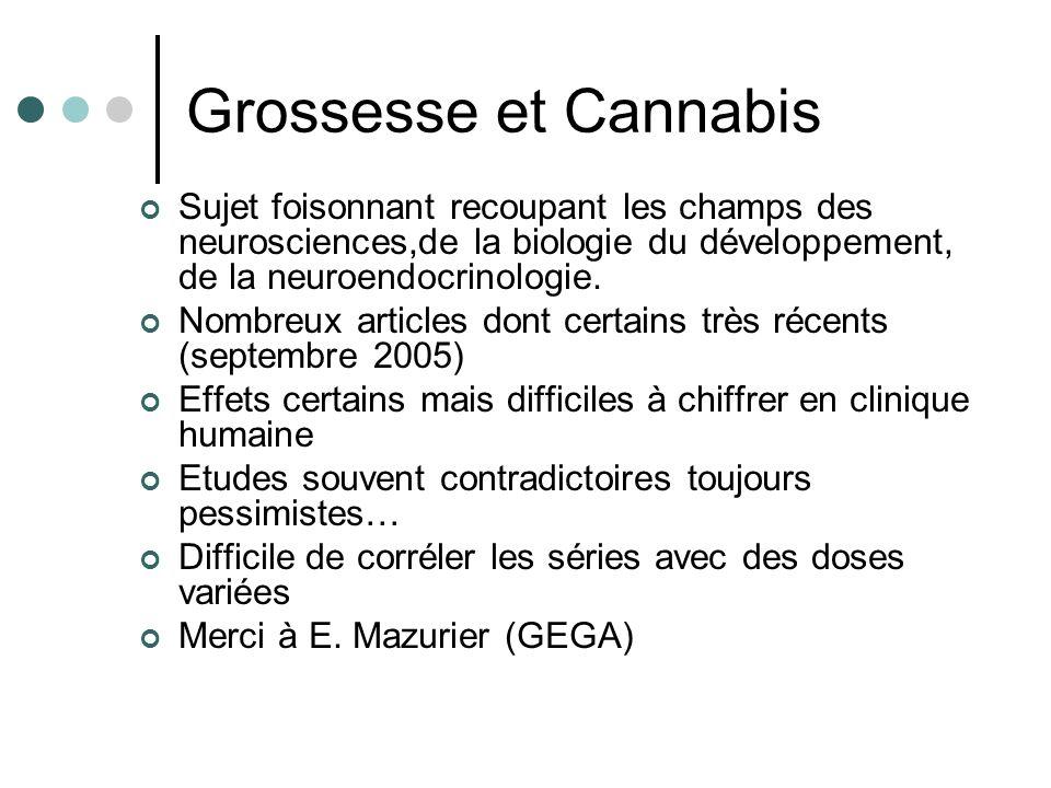Grossesse et Cannabis Sujet foisonnant recoupant les champs des neurosciences,de la biologie du développement, de la neuroendocrinologie. Nombreux art