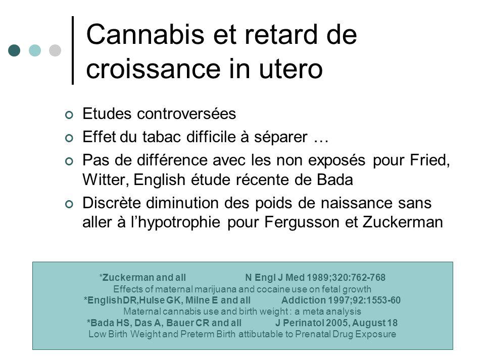 Cannabis et retard de croissance in utero Etudes controversées Effet du tabac difficile à séparer … Pas de différence avec les non exposés pour Fried,