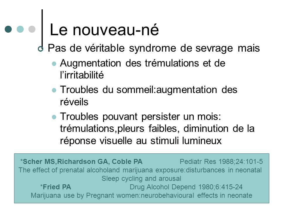 Le nouveau-né Pas de véritable syndrome de sevrage mais Augmentation des trémulations et de lirritabilité Troubles du sommeil:augmentation des réveils