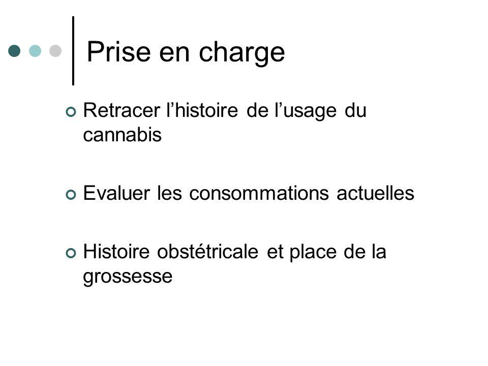Prise en charge Retracer lhistoire de lusage du cannabis Evaluer les consommations actuelles Histoire obstétricale et place de la grossesse