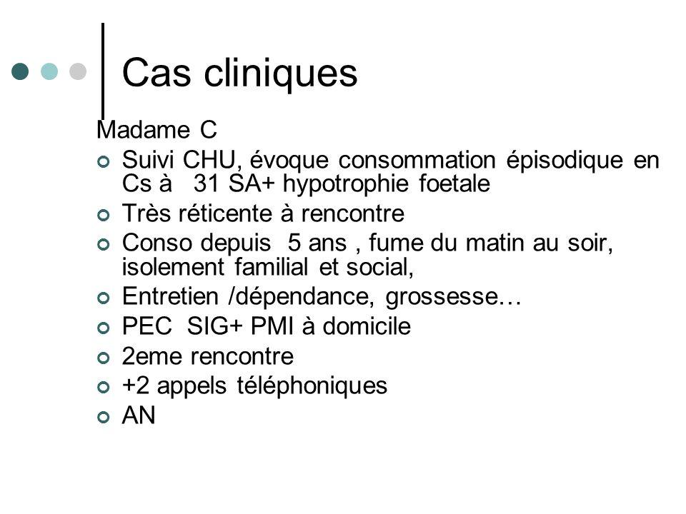 Cas cliniques Madame C Suivi CHU, évoque consommation épisodique en Cs à 31 SA+ hypotrophie foetale Très réticente à rencontre Conso depuis 5 ans, fum