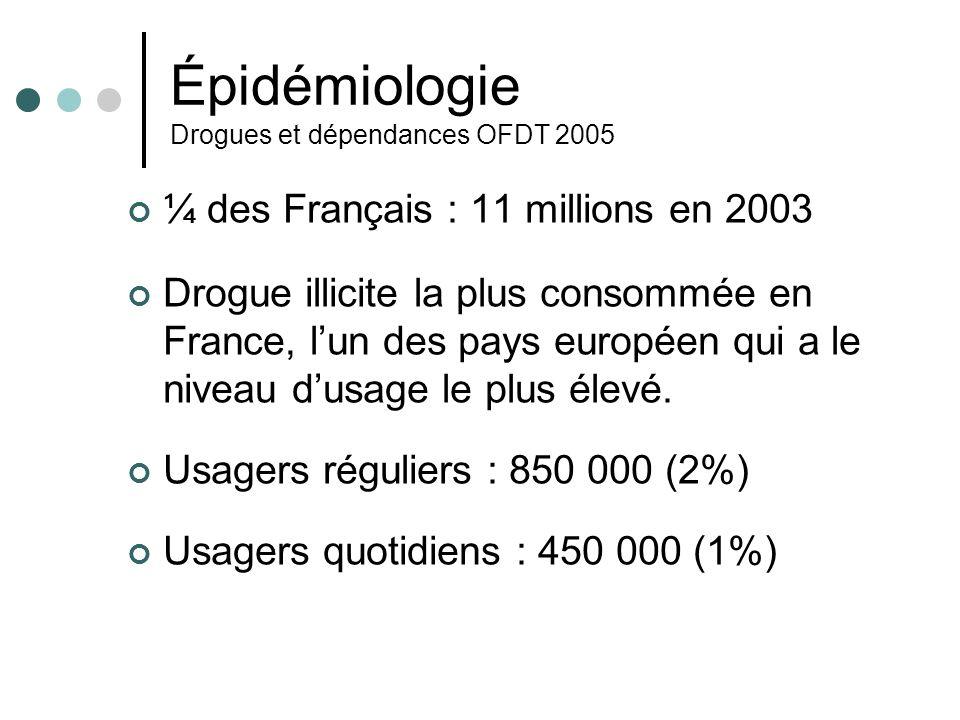 Épidémiologie Drogues et dépendances OFDT 2005 En1990, niveau dexpérimentation chez les jeunes adultes (18-44) = 18 % En 2002 = 35% Dabord chez les adolescents, la moitié des filles, les 2/3 des garçons à 18 ans