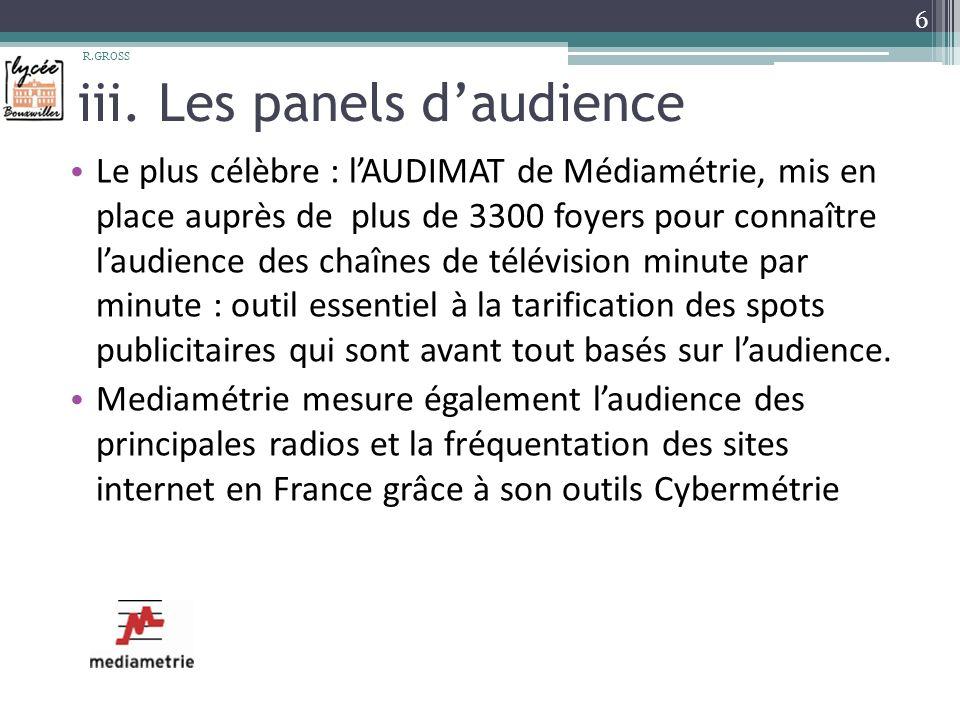 iii. Les panels daudience Le plus célèbre : lAUDIMAT de Médiamétrie, mis en place auprès de plus de 3300 foyers pour connaître laudience des chaînes d
