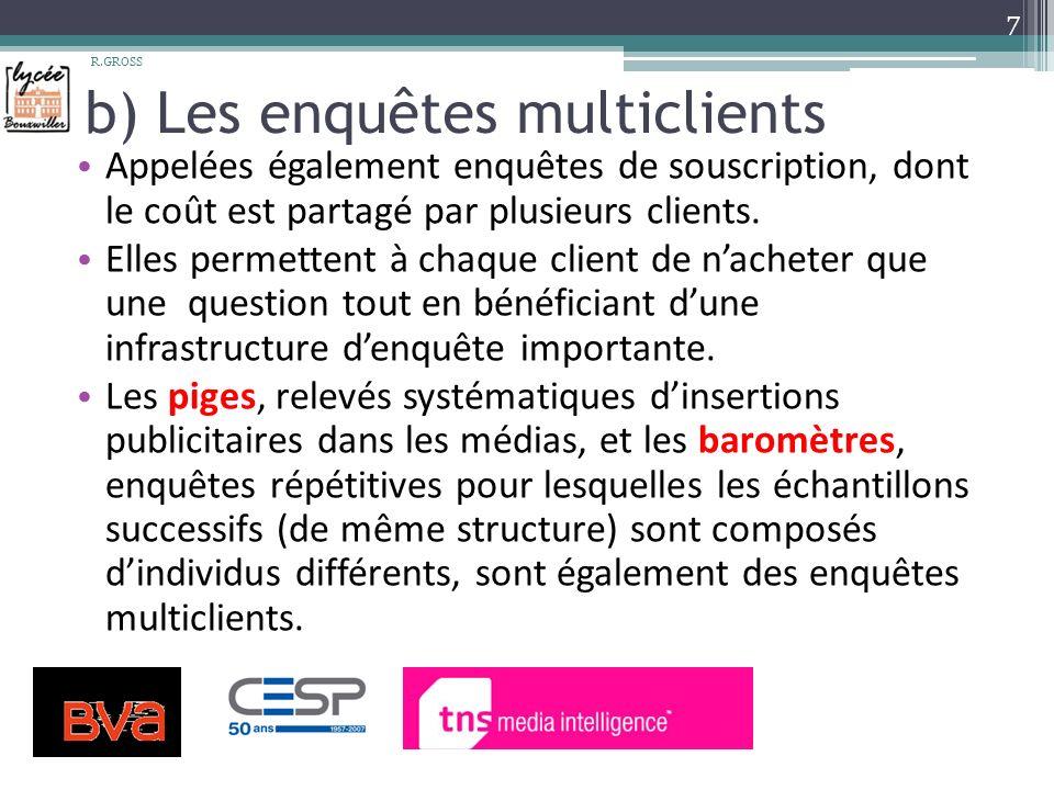 b) Les enquêtes multiclients Appelées également enquêtes de souscription, dont le coût est partagé par plusieurs clients.