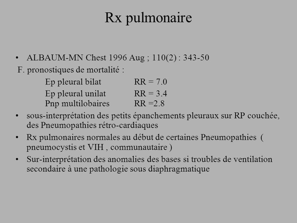 Rx pulmonaire ALBAUM-MN Chest 1996 Aug ; 110(2) : 343-50 F. pronostiques de mortalité : Ep pleural bilat RR = 7.0 Ep pleural unilatRR = 3.4 Pnp multil