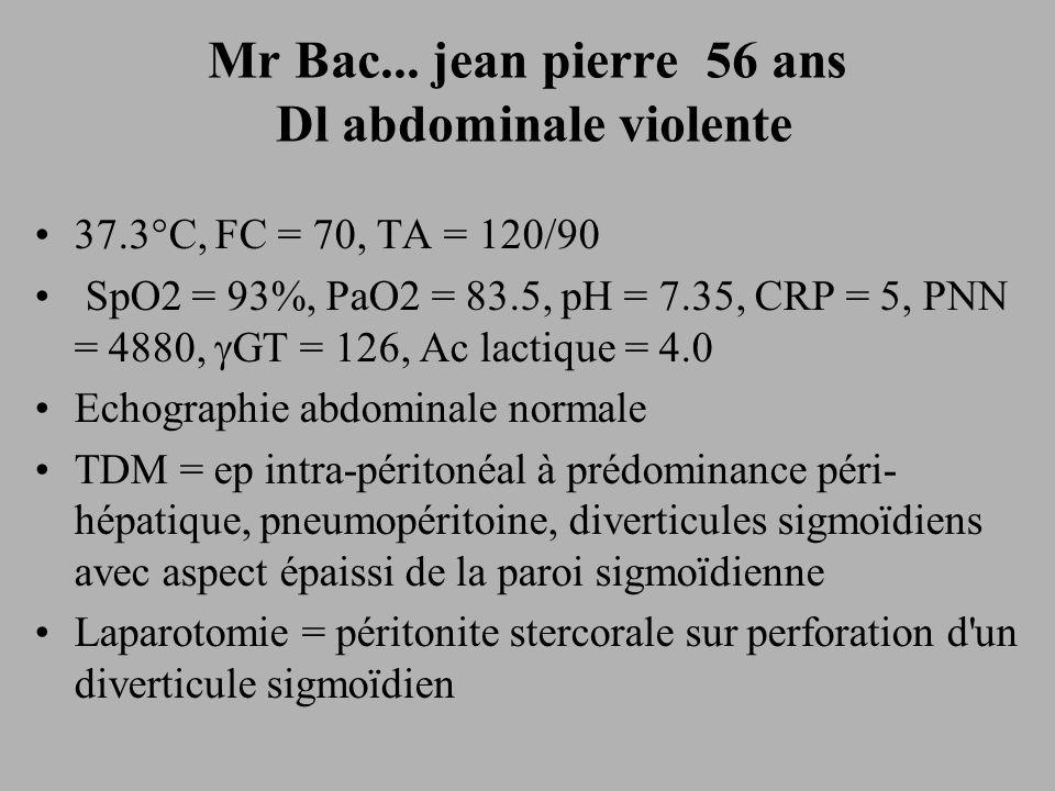 Mr Bac... jean pierre 56 ans Dl abdominale violente 37.3°C, FC = 70, TA = 120/90 SpO2 = 93%, PaO2 = 83.5, pH = 7.35, CRP = 5, PNN = 4880, GT = 126, Ac