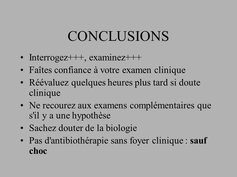 CONCLUSIONS Interrogez+++, examinez+++ Faîtes confiance à votre examen clinique Réévaluez quelques heures plus tard si doute clinique Ne recourez aux