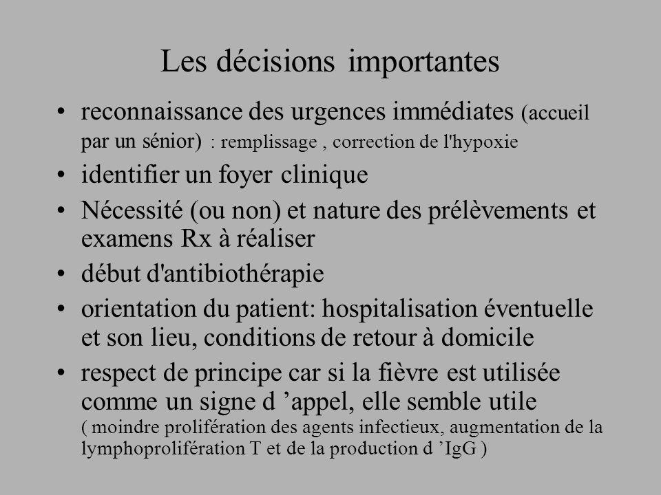 Les décisions importantes reconnaissance des urgences immédiates (accueil par un sénior) : remplissage, correction de l'hypoxie identifier un foyer cl