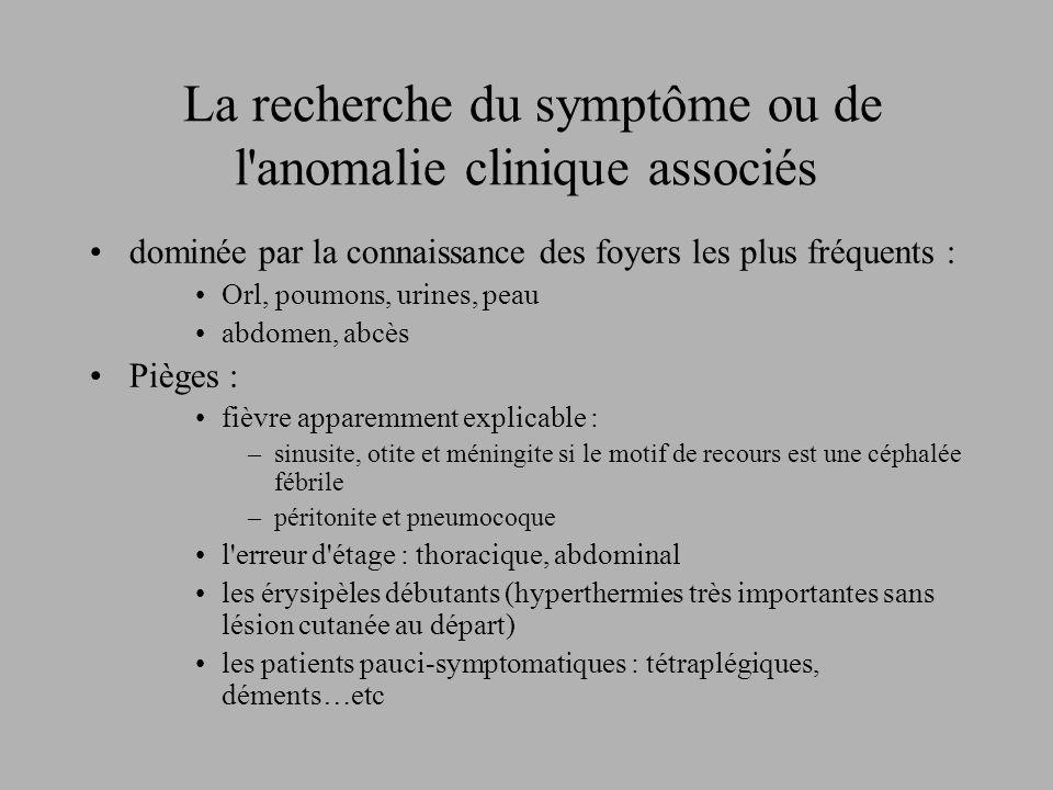La recherche du symptôme ou de l'anomalie clinique associés dominée par la connaissance des foyers les plus fréquents : Orl, poumons, urines, peau abd
