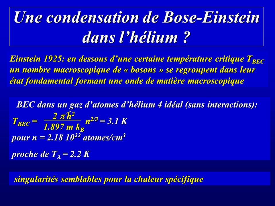 Une condensation de Bose-Einstein dans lhélium .