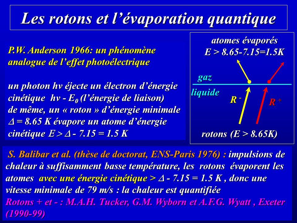 Les rotons et lévaporation quantique P.W.