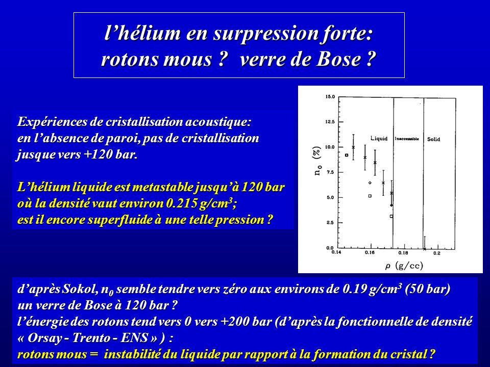 lhélium en surpression forte: rotons mous .verre de Bose .