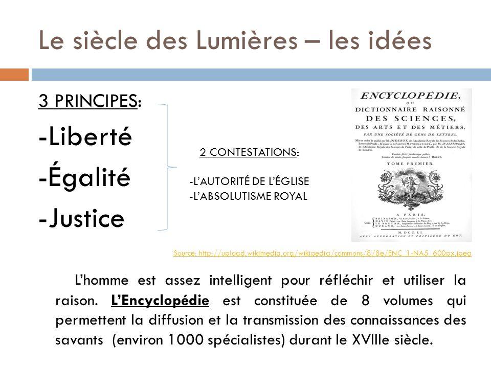Le siècle des Lumières – les idées 3 PRINCIPES: -Liberté -Égalité -Justice Lhomme est assez intelligent pour réfléchir et utiliser la raison. LEncyclo