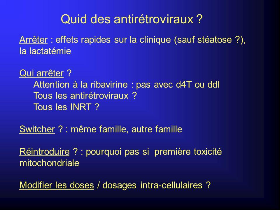 Arrêter : effets rapides sur la clinique (sauf stéatose ?), la lactatémie Qui arrêter .