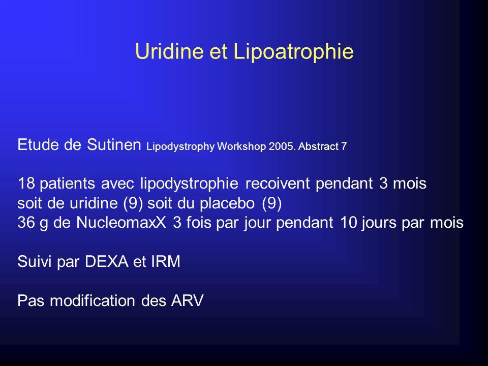 Uridine et Lipoatrophie Etude de Sutinen Lipodystrophy Workshop 2005.