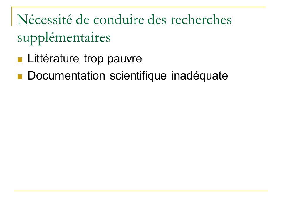 Nécessité de conduire des recherches supplémentaires Littérature trop pauvre Documentation scientifique inadéquate