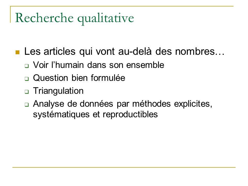 Recherche qualitative Les articles qui vont au-delà des nombres… Voir lhumain dans son ensemble Question bien formulée Triangulation Analyse de donnée