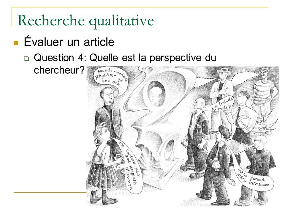 Recherche qualitative Évaluer un article Question 4: Quelle est la perspective du chercheur?