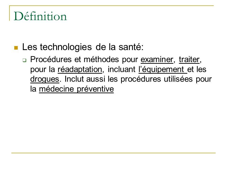 Définition Les technologies de la santé: Procédures et méthodes pour examiner, traiter, pour la réadaptation, incluant léquipement et les drogues. Inc