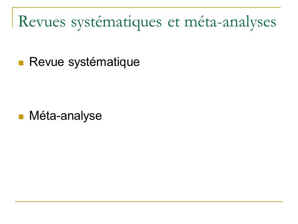 Revues systématiques et méta-analyses Revue systématique Méta-analyse