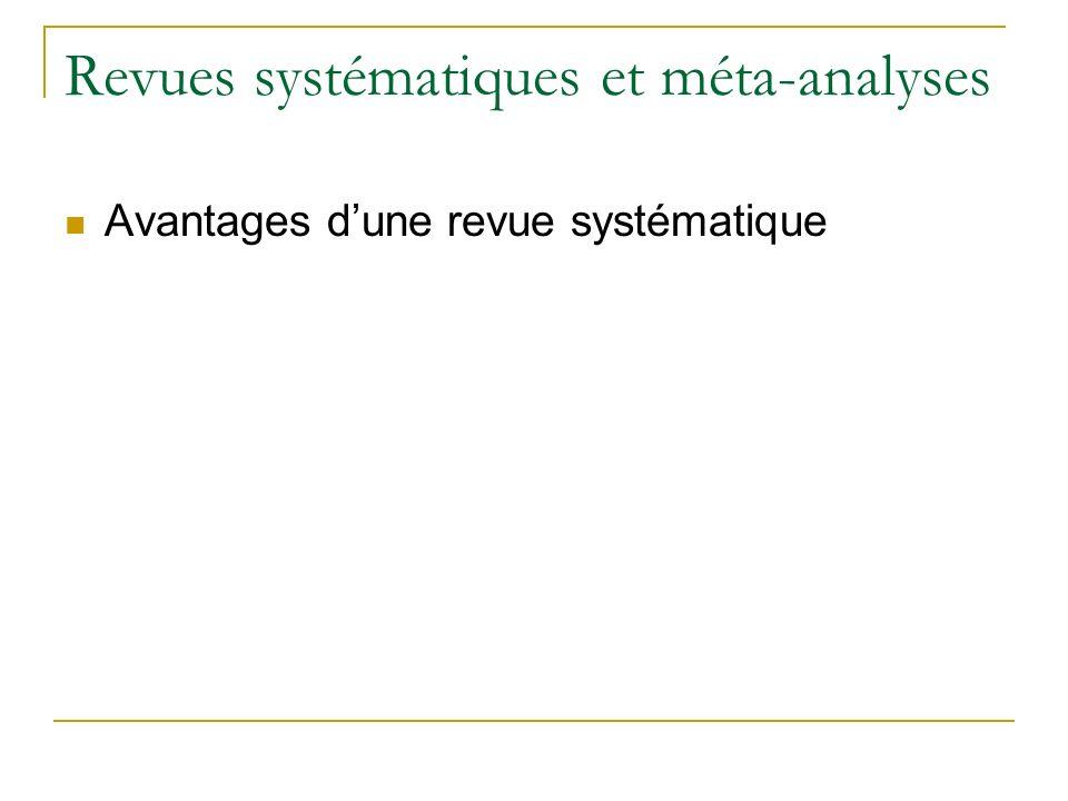 Revues systématiques et méta-analyses Avantages dune revue systématique