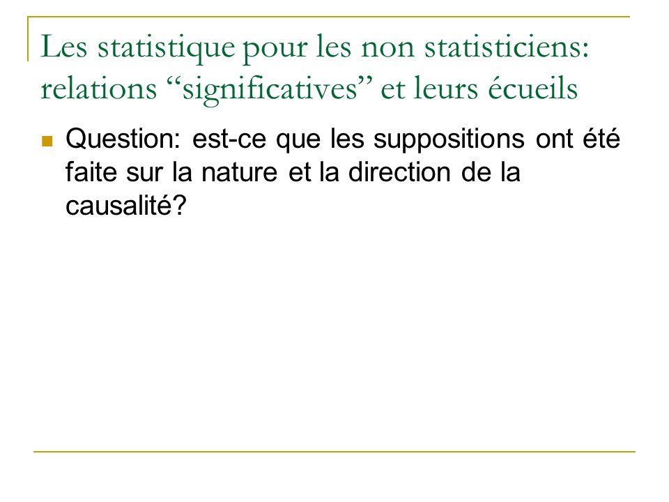 Les statistique pour les non statisticiens: relations significatives et leurs écueils Question: est-ce que les suppositions ont été faite sur la natur