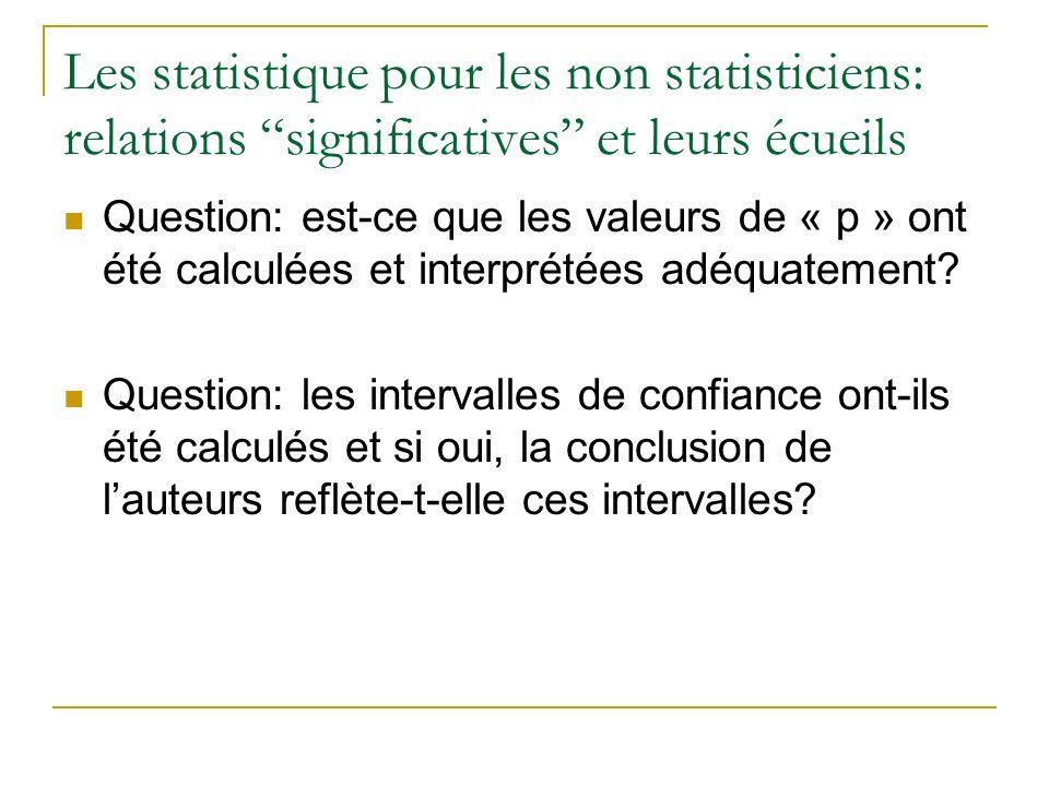 Les statistique pour les non statisticiens: relations significatives et leurs écueils Question: est-ce que les valeurs de « p » ont été calculées et i