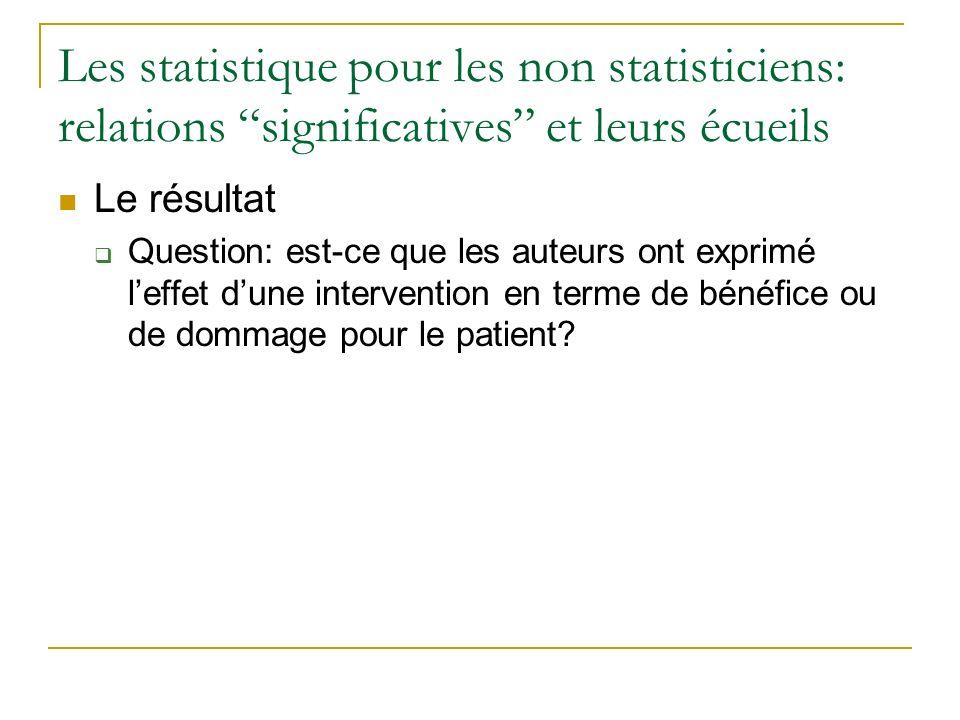 Les statistique pour les non statisticiens: relations significatives et leurs écueils Le résultat Question: est-ce que les auteurs ont exprimé leffet
