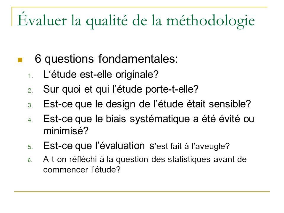 Évaluer la qualité de la méthodologie 6 questions fondamentales: 1. Létude est-elle originale? 2. Sur quoi et qui létude porte-t-elle? 3. Est-ce que l