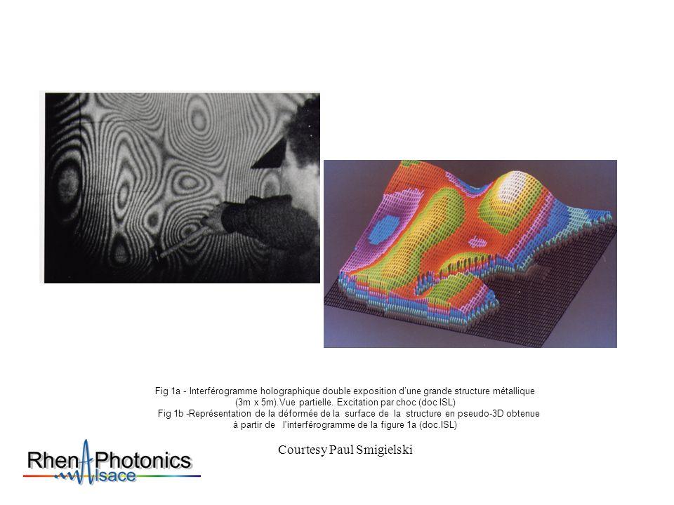 Fig 1a - Interférogramme holographique double exposition dune grande structure métallique (3m x 5m).Vue partielle. Excitation par choc (doc ISL) Fig 1