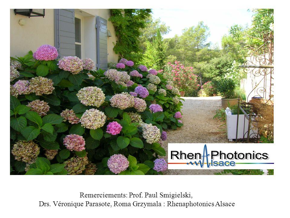 Remerciements: Prof. Paul Smigielski, Drs. Véronique Parasote, Roma Grzymala : Rhenaphotonics Alsace