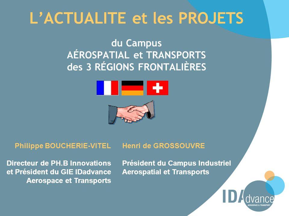 LACTUALITE et les PROJETS du Campus AÉROSPATIAL et TRANSPORTS des 3 RÉGIONS FRONTALIÈRES Philippe BOUCHERIE-VITEL Directeur de PH.B Innovations et Pré