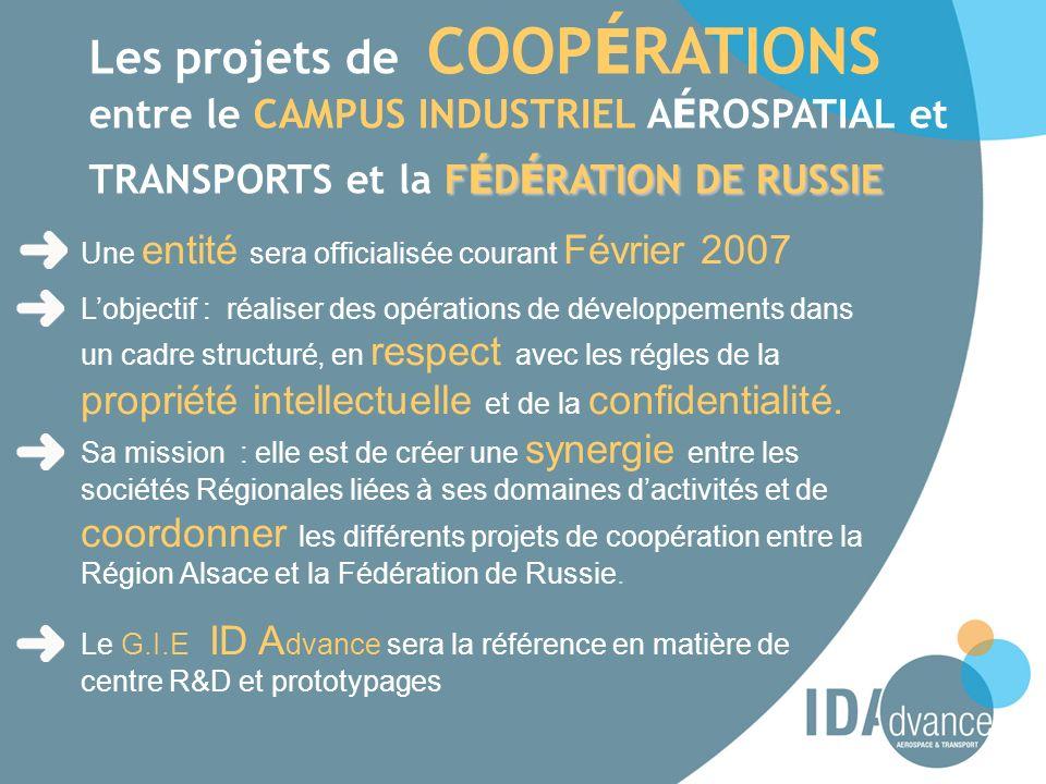 F É D É RATION DE RUSSIE Les projets de COOP É RATIONS entre le CAMPUS INDUSTRIEL A É ROSPATIAL et TRANSPORTS et la F É D É RATION DE RUSSIE Une entit
