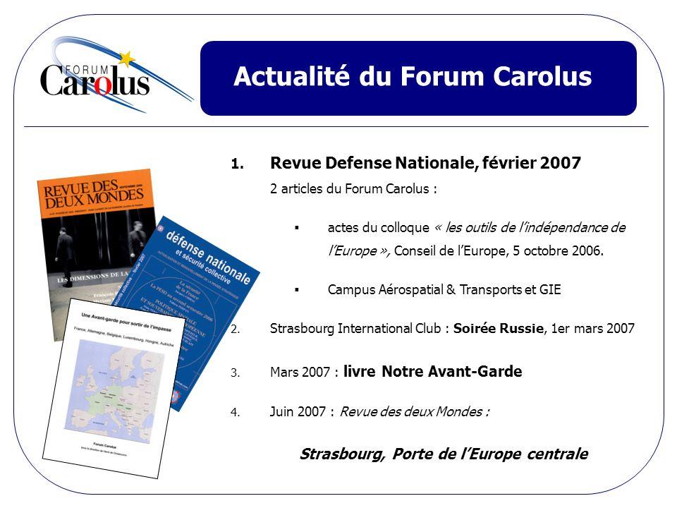 Actualité du Forum Carolus 1. Revue Defense Nationale, février 2007 2 articles du Forum Carolus : actes du colloque « les outils de lindépendance de l