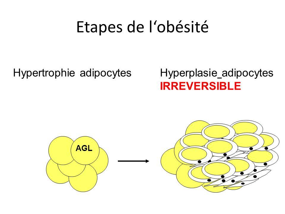 Etapes de lobésité AGL Hypertrophie adipocytesHyperplasie adipocytes IRREVERSIBLE