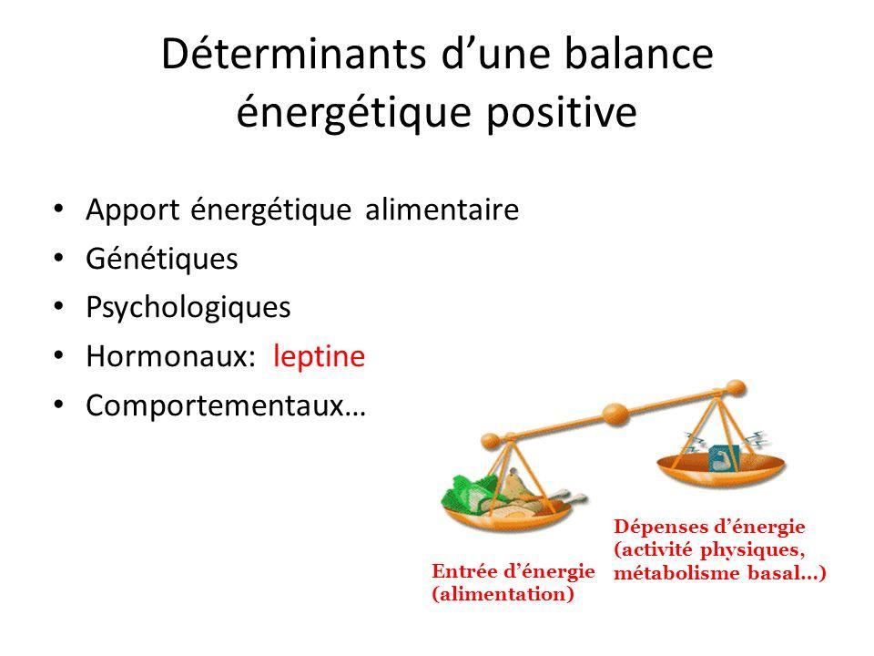 Déterminants dune balance énergétique positive Apport énergétique alimentaire Génétiques Psychologiques Hormonaux: leptine Comportementaux… Dépenses d