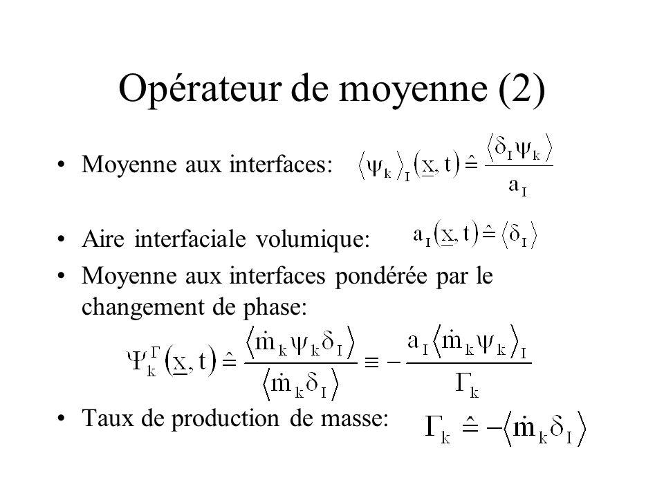 Opérateur de moyenne (2) Moyenne aux interfaces: Aire interfaciale volumique: Moyenne aux interfaces pondérée par le changement de phase: Taux de prod