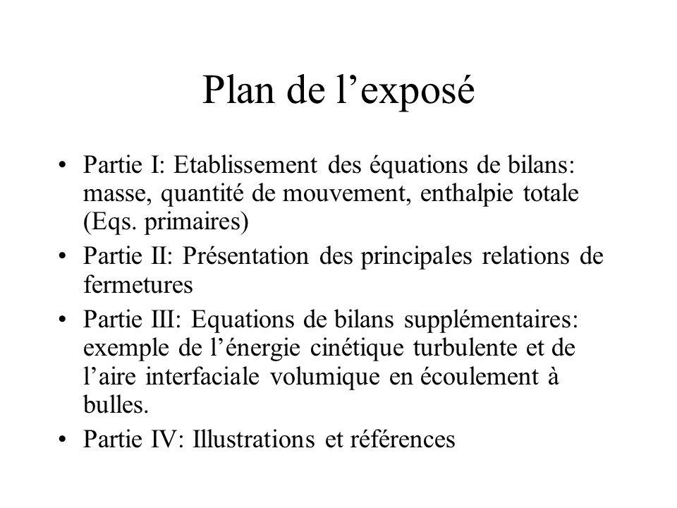 Plan de lexposé Partie I: Etablissement des équations de bilans: masse, quantité de mouvement, enthalpie totale (Eqs. primaires) Partie II: Présentati