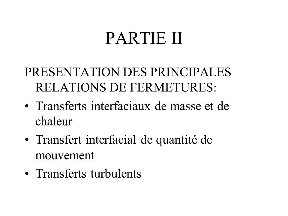 PARTIE II PRESENTATION DES PRINCIPALES RELATIONS DE FERMETURES: Transferts interfaciaux de masse et de chaleur Transfert interfacial de quantité de mo
