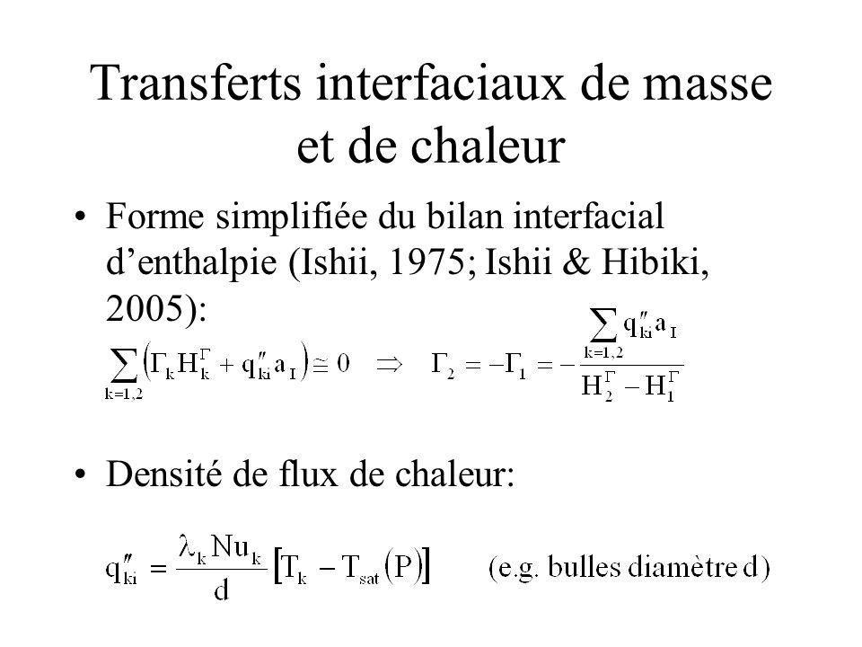 Transferts interfaciaux de masse et de chaleur Forme simplifiée du bilan interfacial denthalpie (Ishii, 1975; Ishii & Hibiki, 2005): Densité de flux d