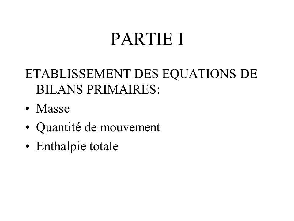 PARTIE I ETABLISSEMENT DES EQUATIONS DE BILANS PRIMAIRES: Masse Quantité de mouvement Enthalpie totale